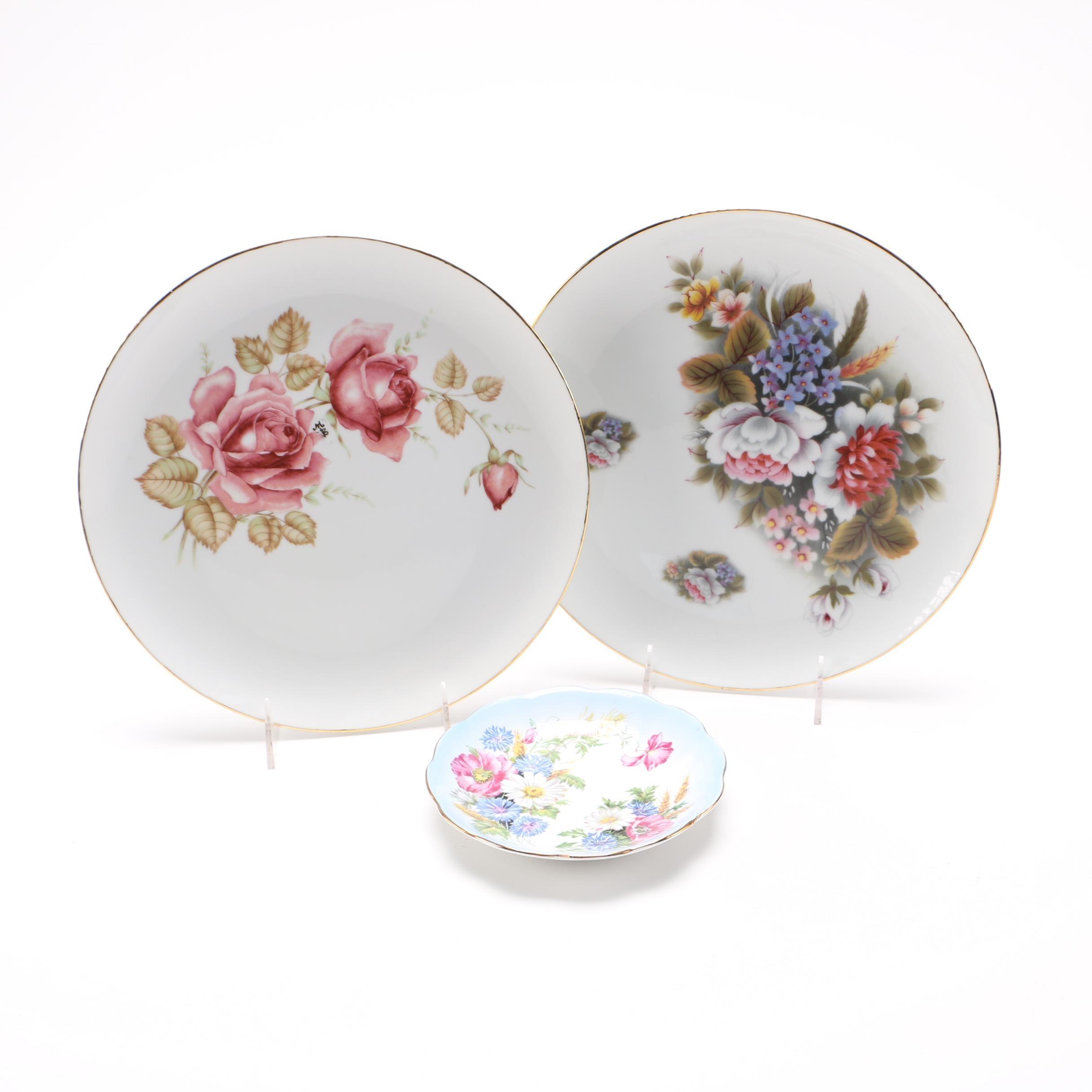 Floral Porcelain Plates and Bowl