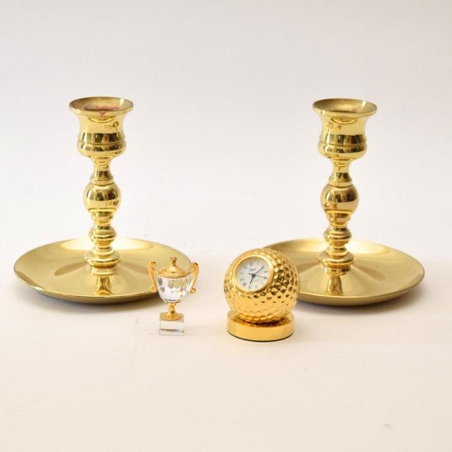 Baldwin Brass Candlesticks and Brass Tone Decor