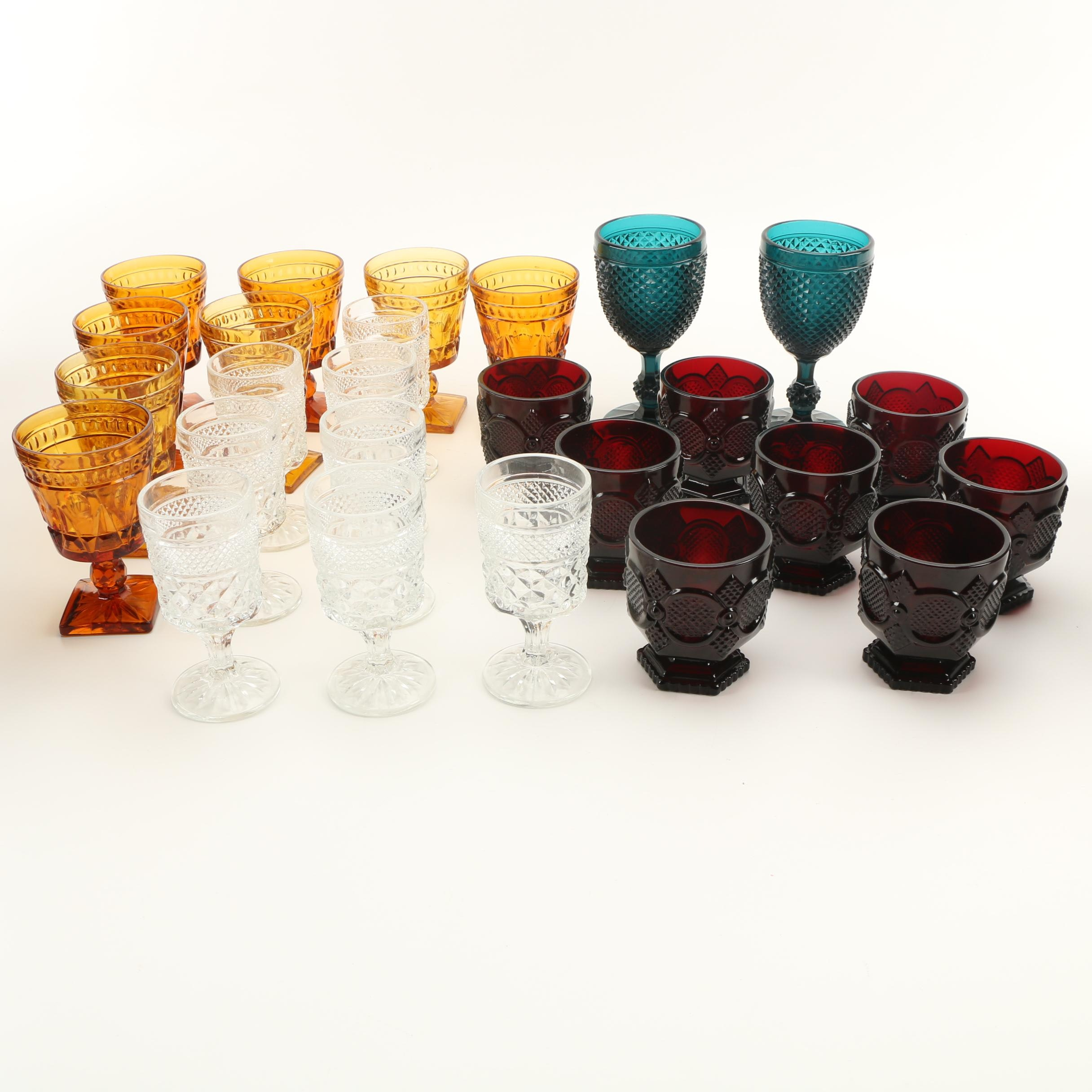 Colored Wine Glasses and Tumblers Featuring Depression Glass