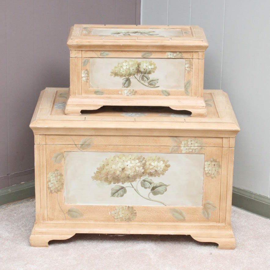 Painted Wooden Chest Pair