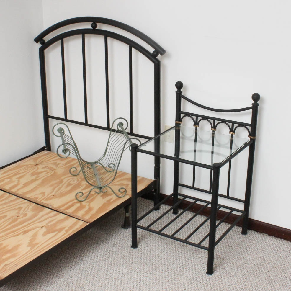 Twin Metal Bed With Table and More