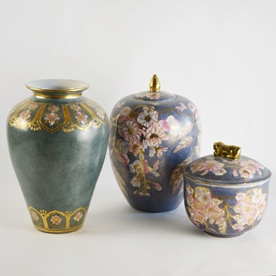 Toyo Decorative Vase, With a Matching Urn and Pot