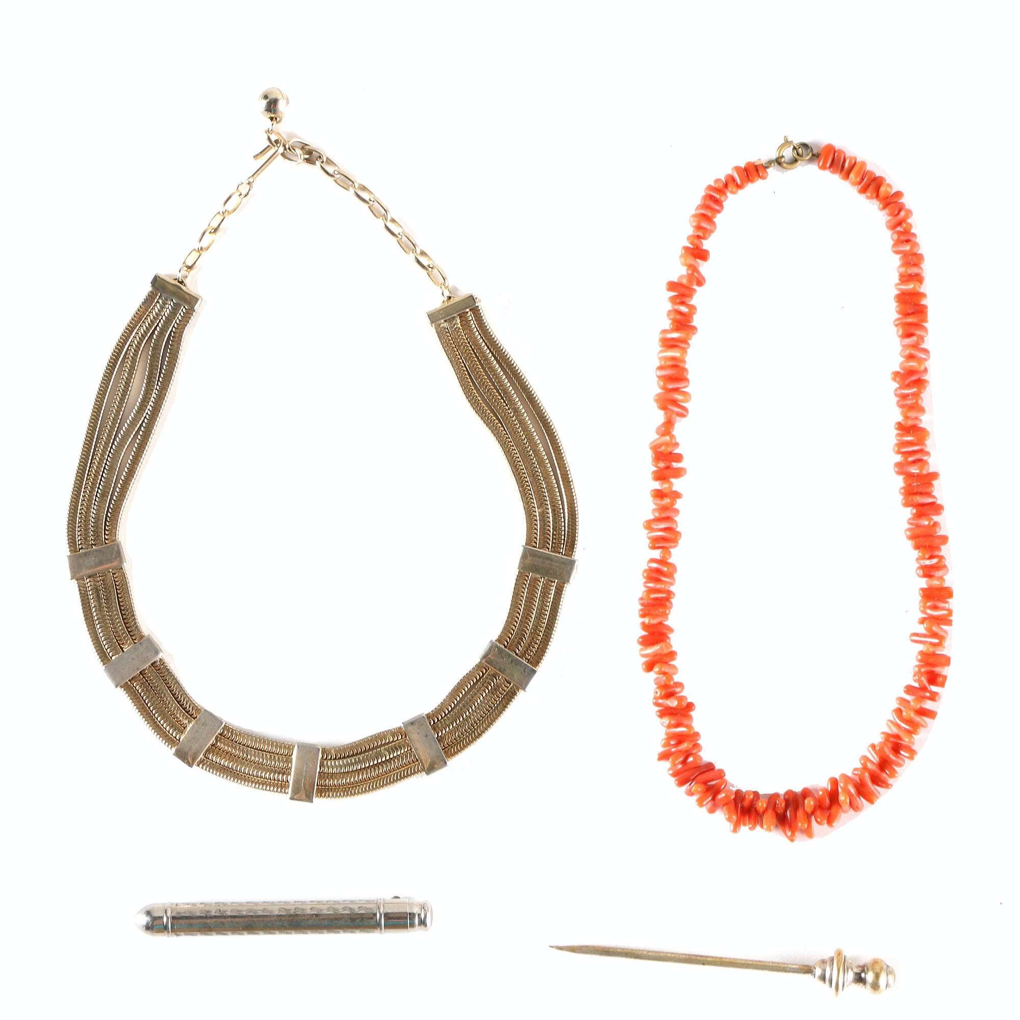 Costume Jewelry Including Coral Necklace