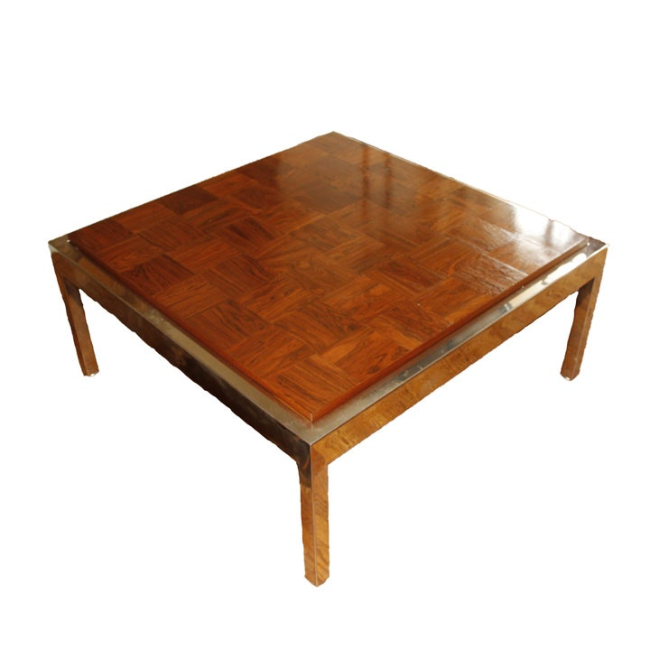 Wooden Parquet Coffee Table with Steel Frame