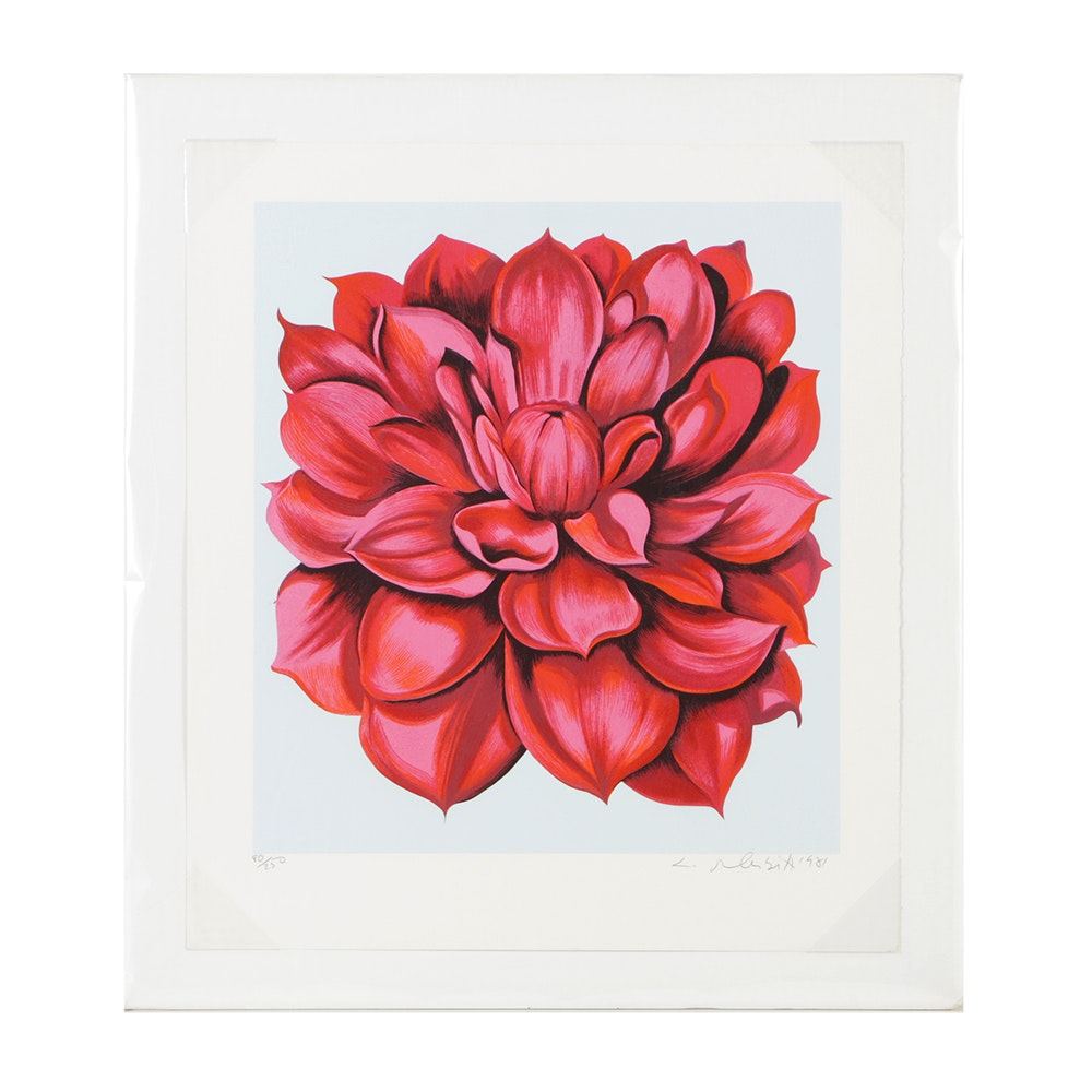 "Lowell Nesbitt Signed Limited Edition Serigraph on Paper ""Red Dahlia"""
