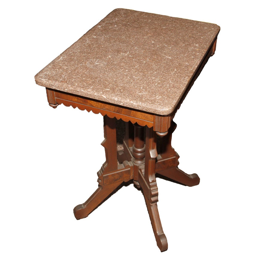 Victorian Style Marble-Top Walnut Side Table