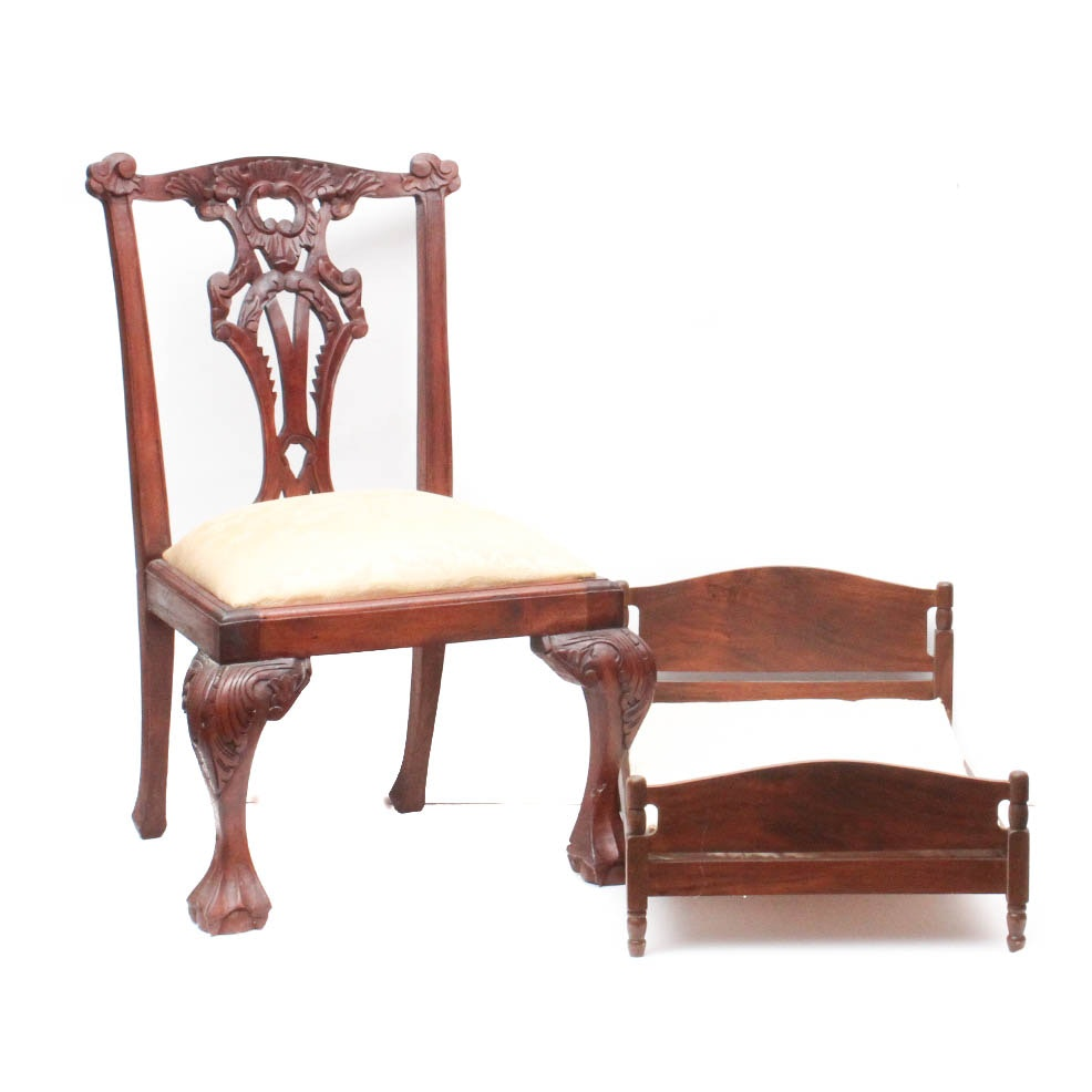 Wood Child's Chair and Doll Bed