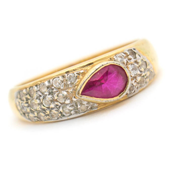18K Yellow Gold, Synthetic Ruby and Diamond Ring