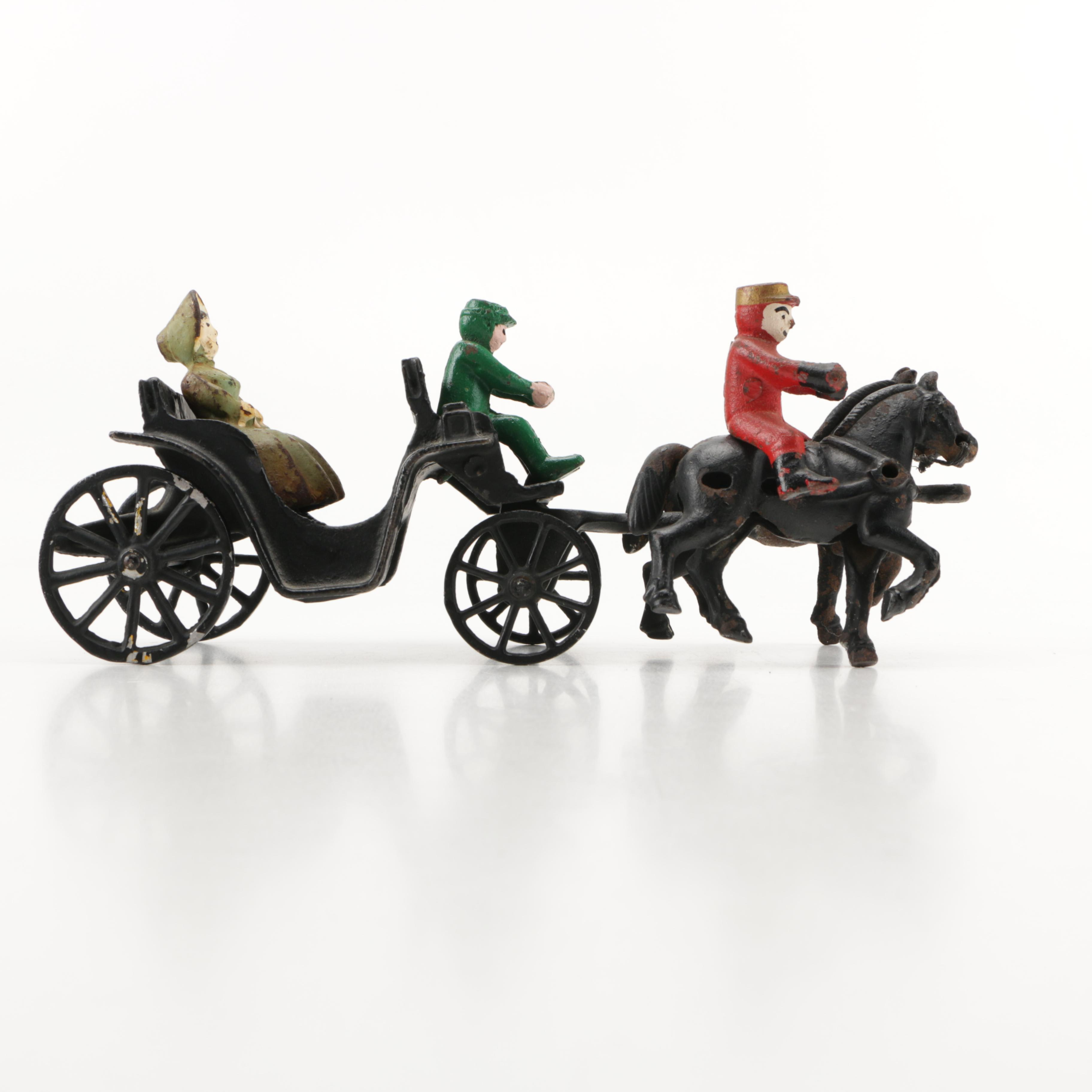 1930s Cast Iron Buggy Carriage and Figures