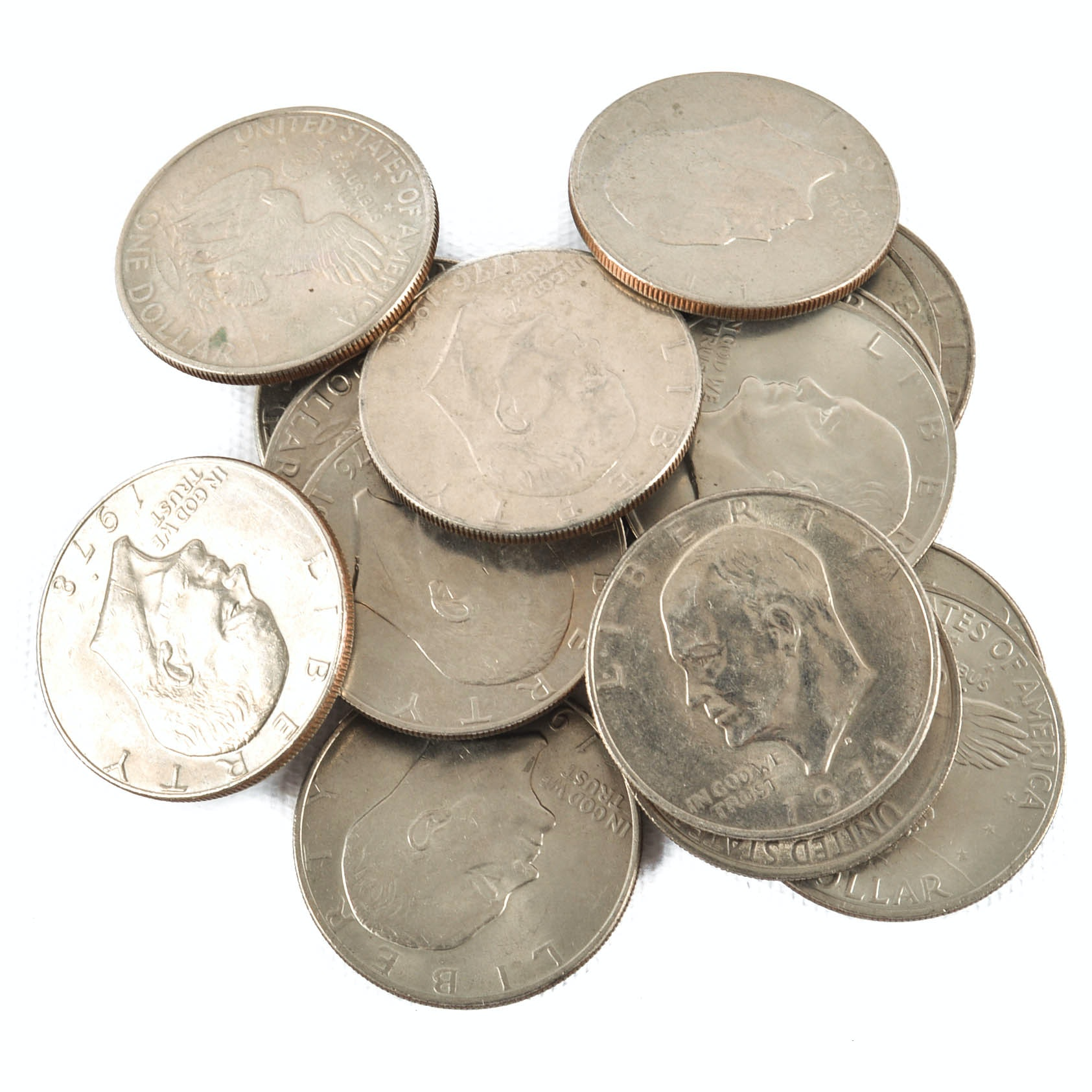 Seventeen Eisenhower Silver Dollars