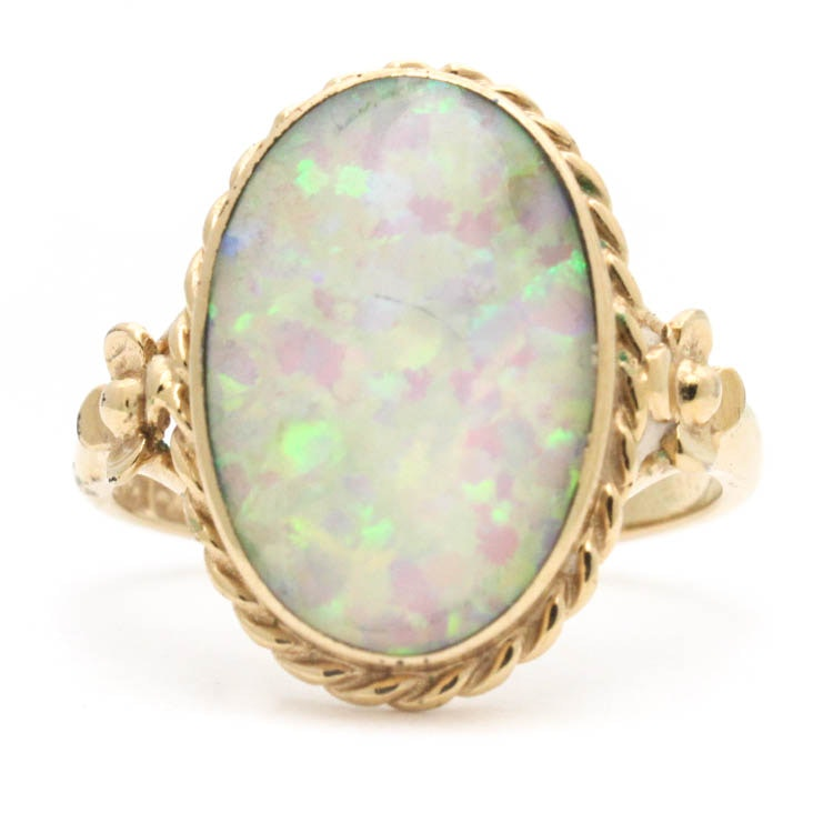 9K Yellow Gold and Synthetic Opal Ring