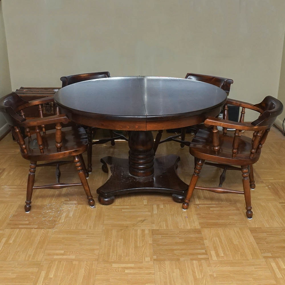 Colonial Auto Sales >> Vintage American Empire Inspired Oak Dining Table With Chairs by Kling Colonial : EBTH