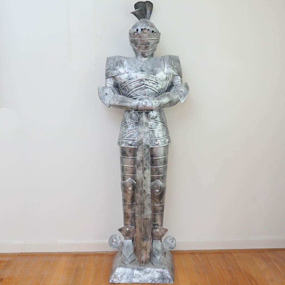 Contemporary Tin Suit of Armor Sculpture