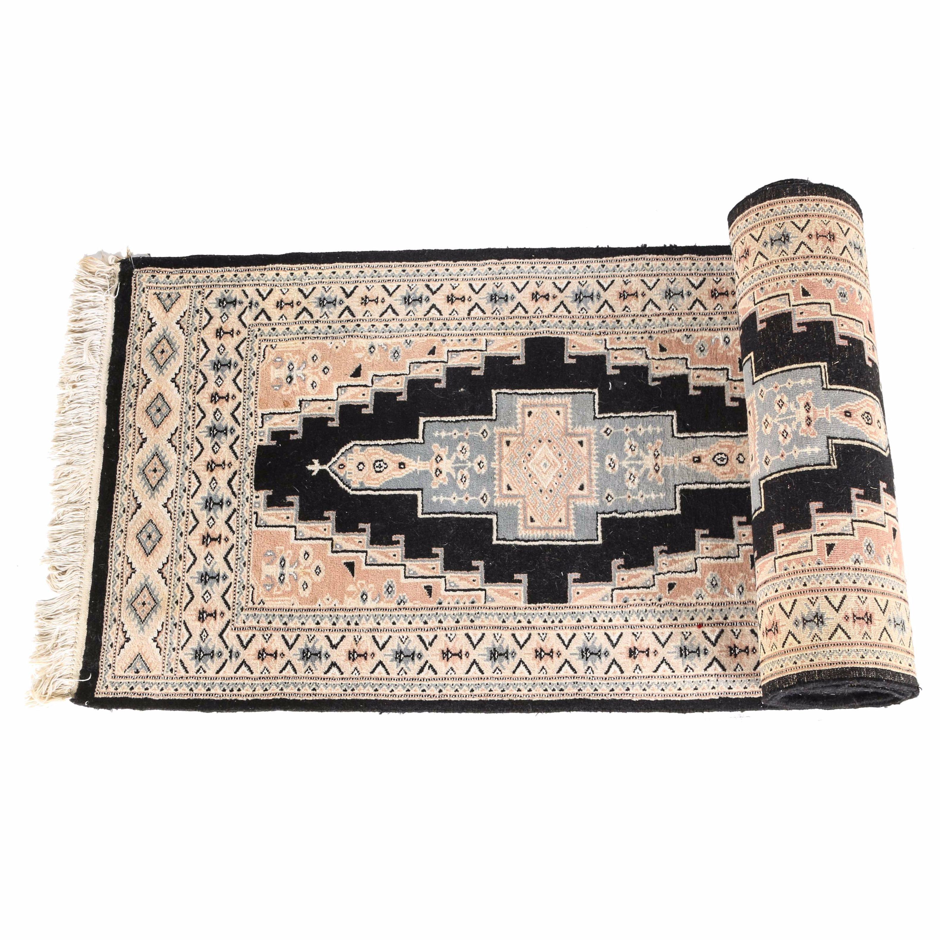 Hand-Knotted Wool Pakistani Kafkaz Carpet Runner