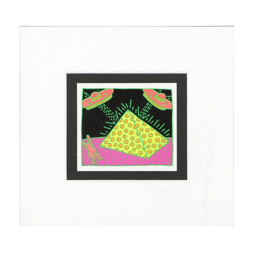 """After Keith Haring Offset Lithograph on Paper """"Untitled #2"""""""
