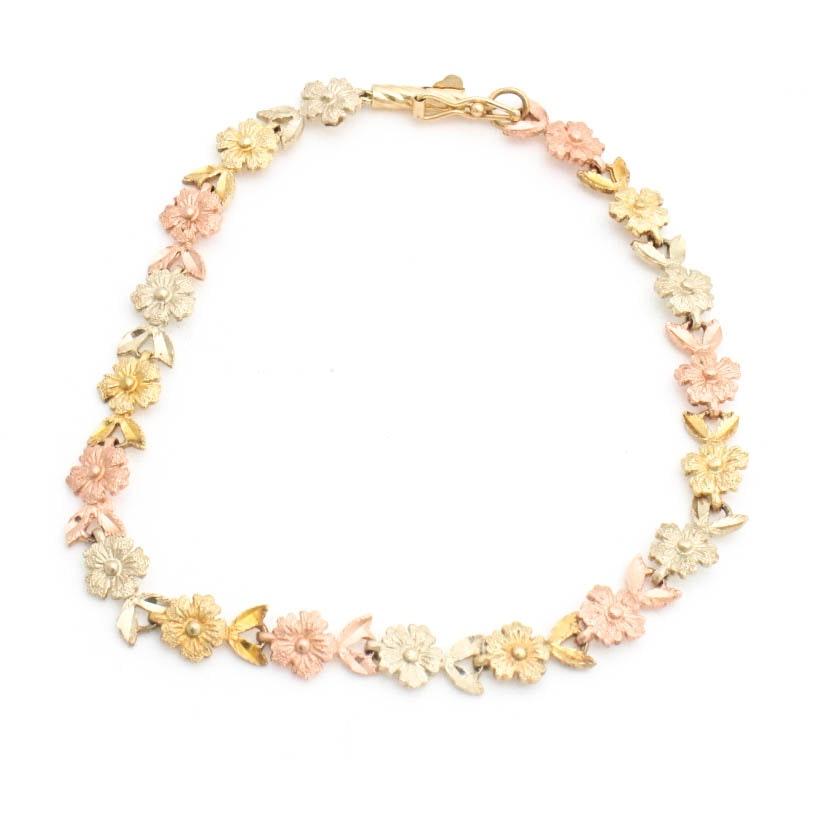 14K Yellow, White and Rose Gold Bracelet