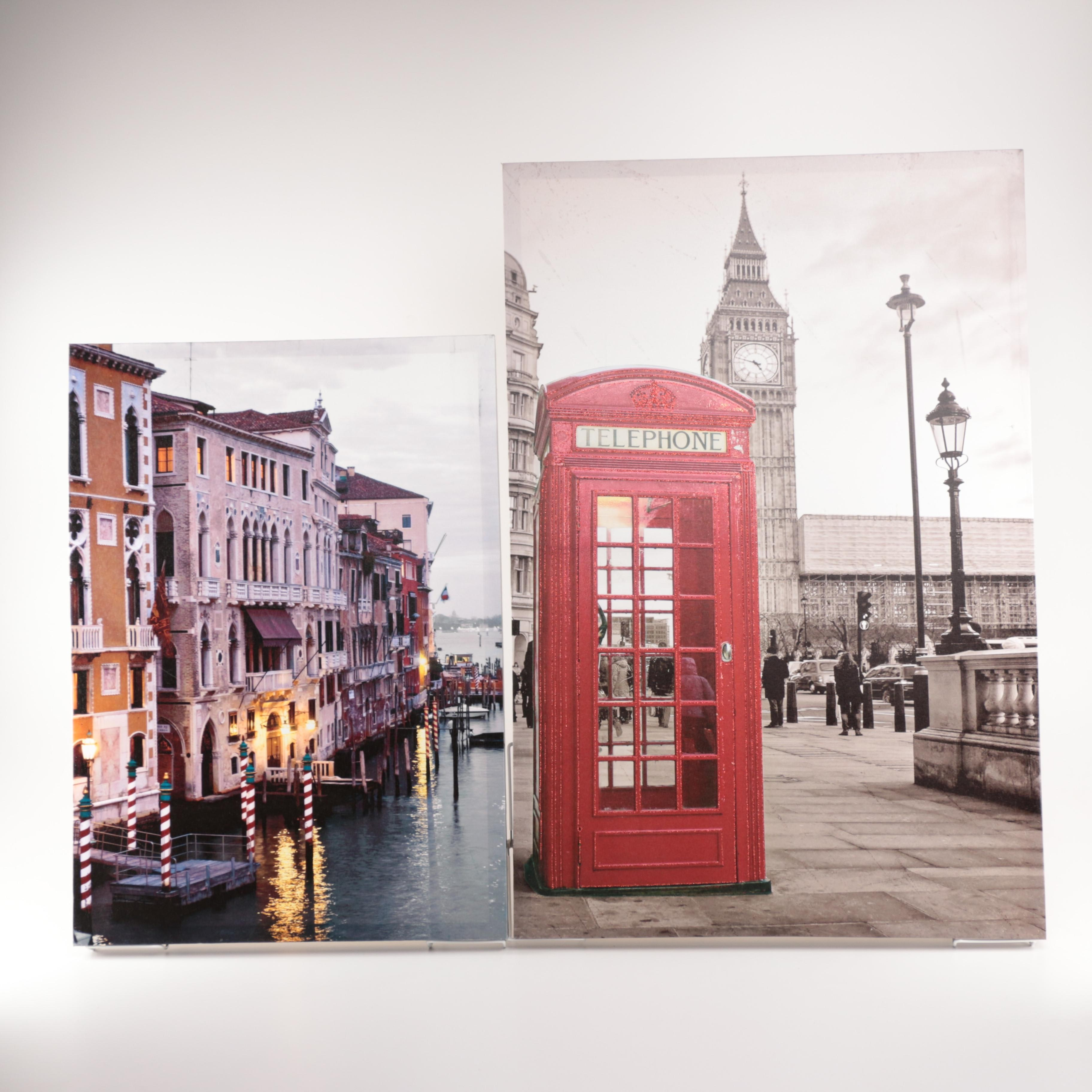 Giclée Prints After Photographic Cityscapes of London and Venice