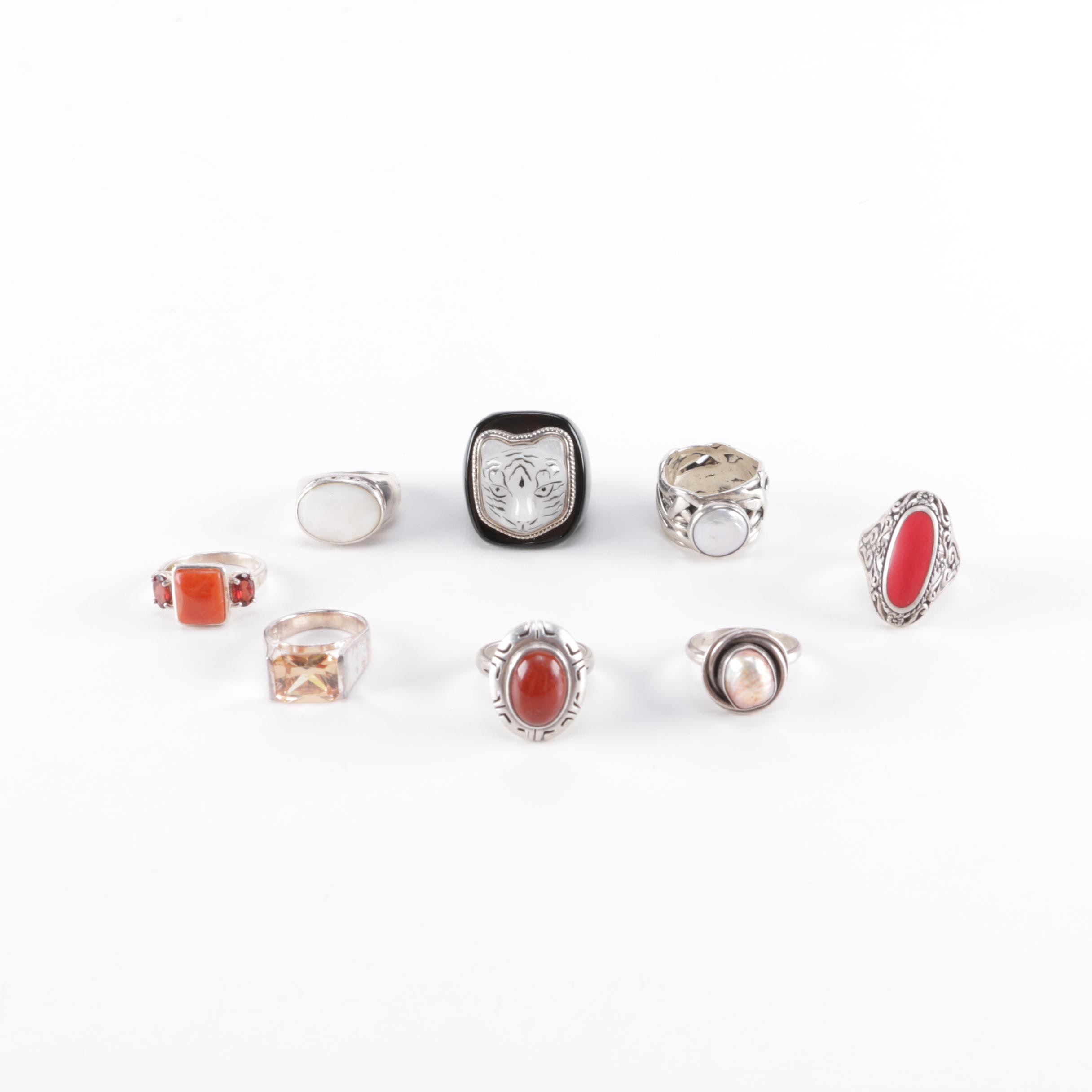 Sterling Silver and Gemstone Rings Including Carnelian