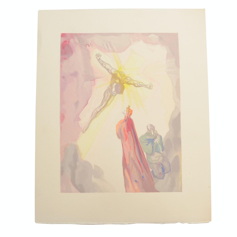 "Salvador Dalì Decomposition Wood Engraving ""Heaven Canto 13"""