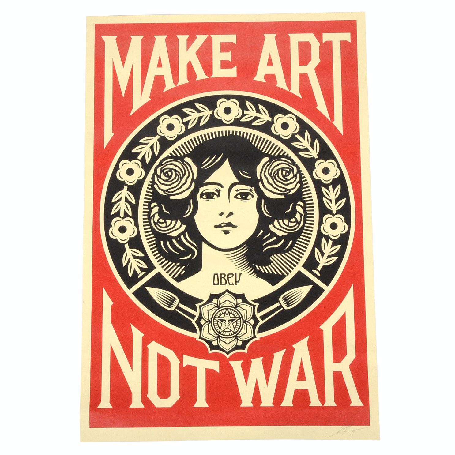"Shepard Fairey Signed Offset ""Make Art Not War"""