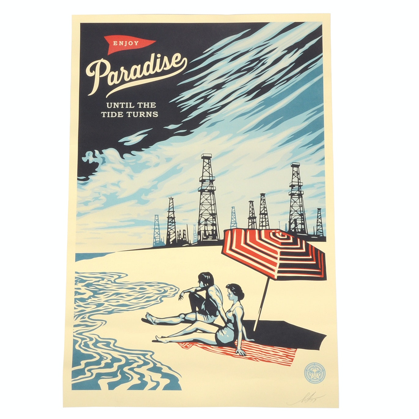 "Shepard Fairey Signed Giclée ""Paradise Turns"""