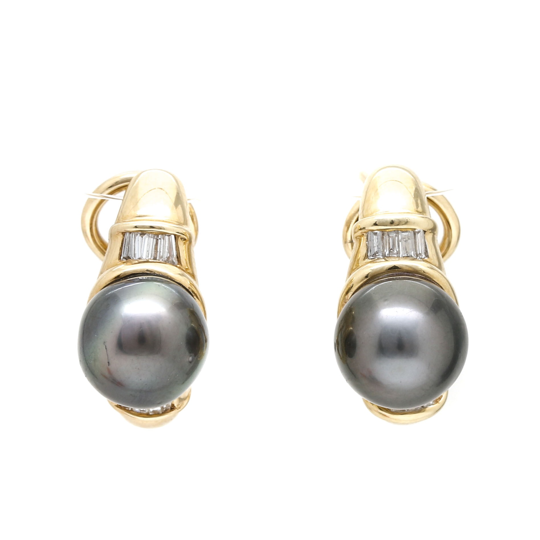 14K Yellow Gold Diamond and Pearl Earrings