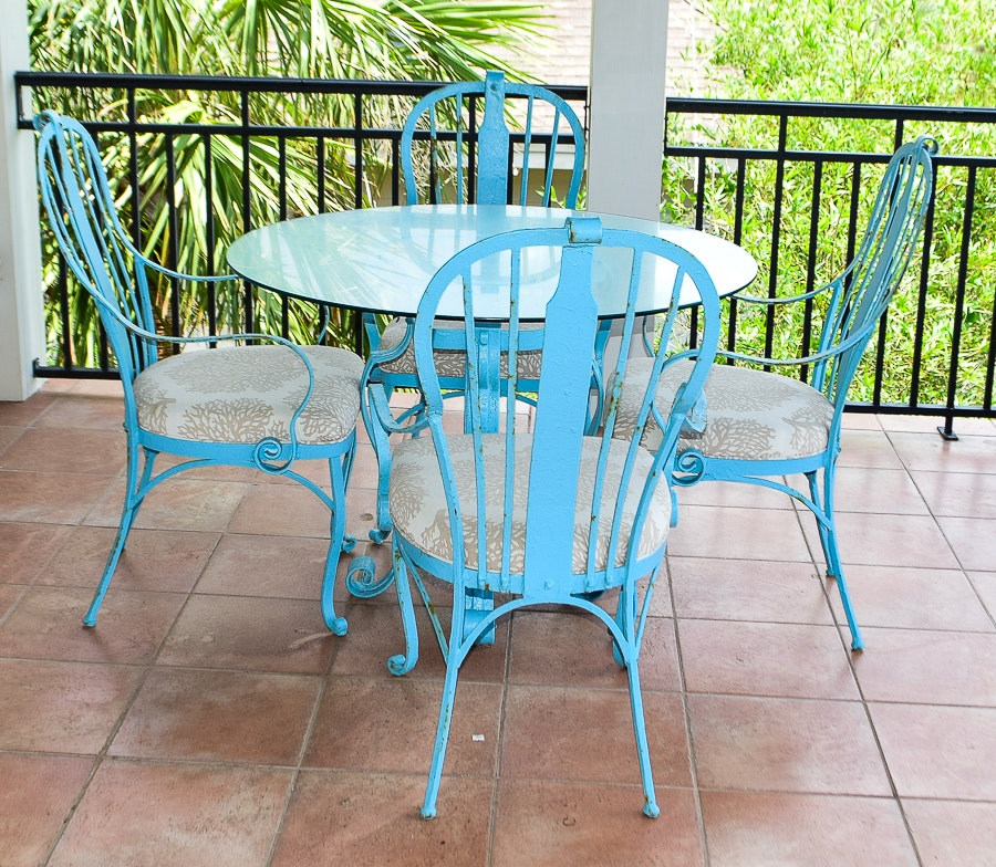 Cast Iron And Glass Round Patio Table And Four Chairs EBTH