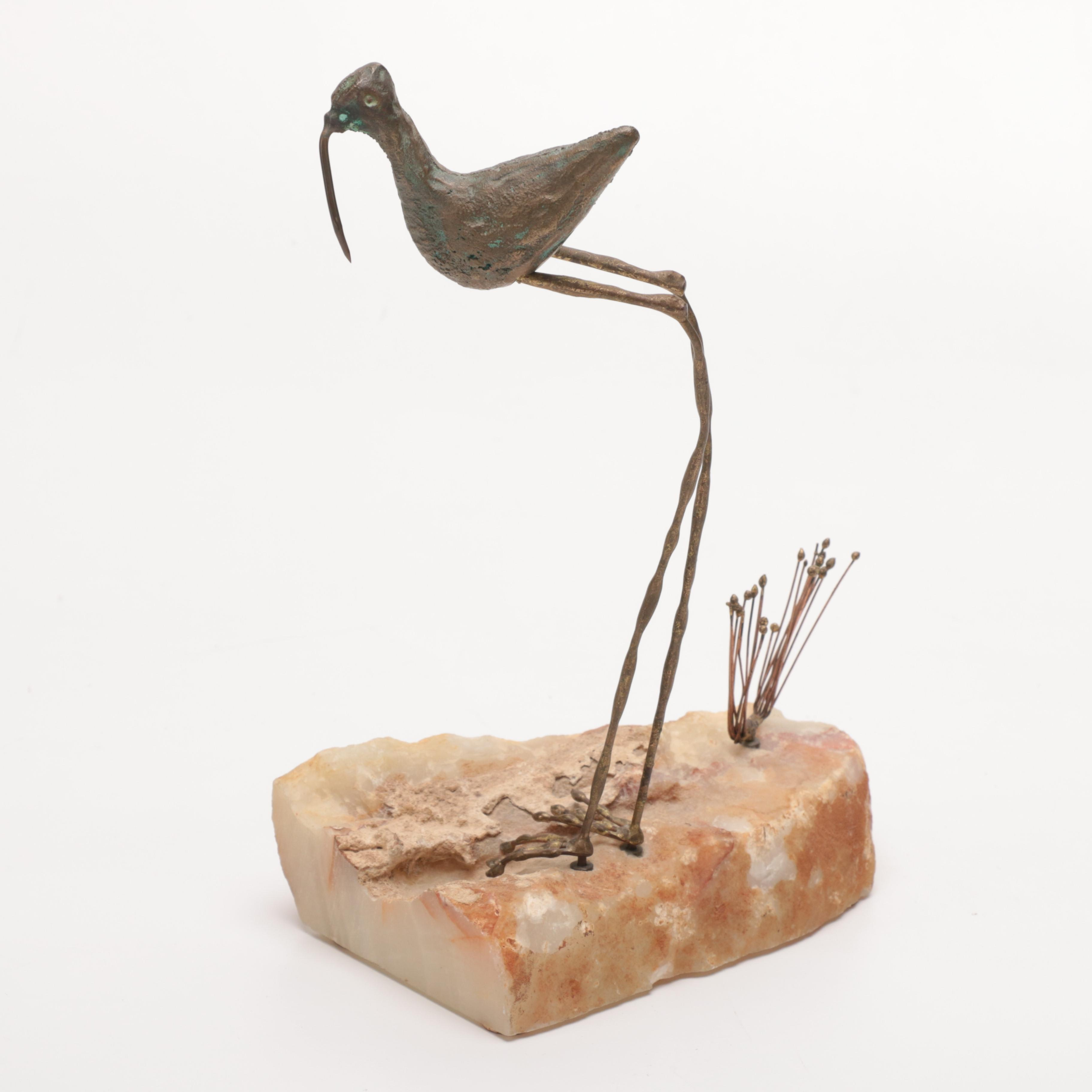 Curtis Jeré 1964 Agate and Metal Bird Sculpture