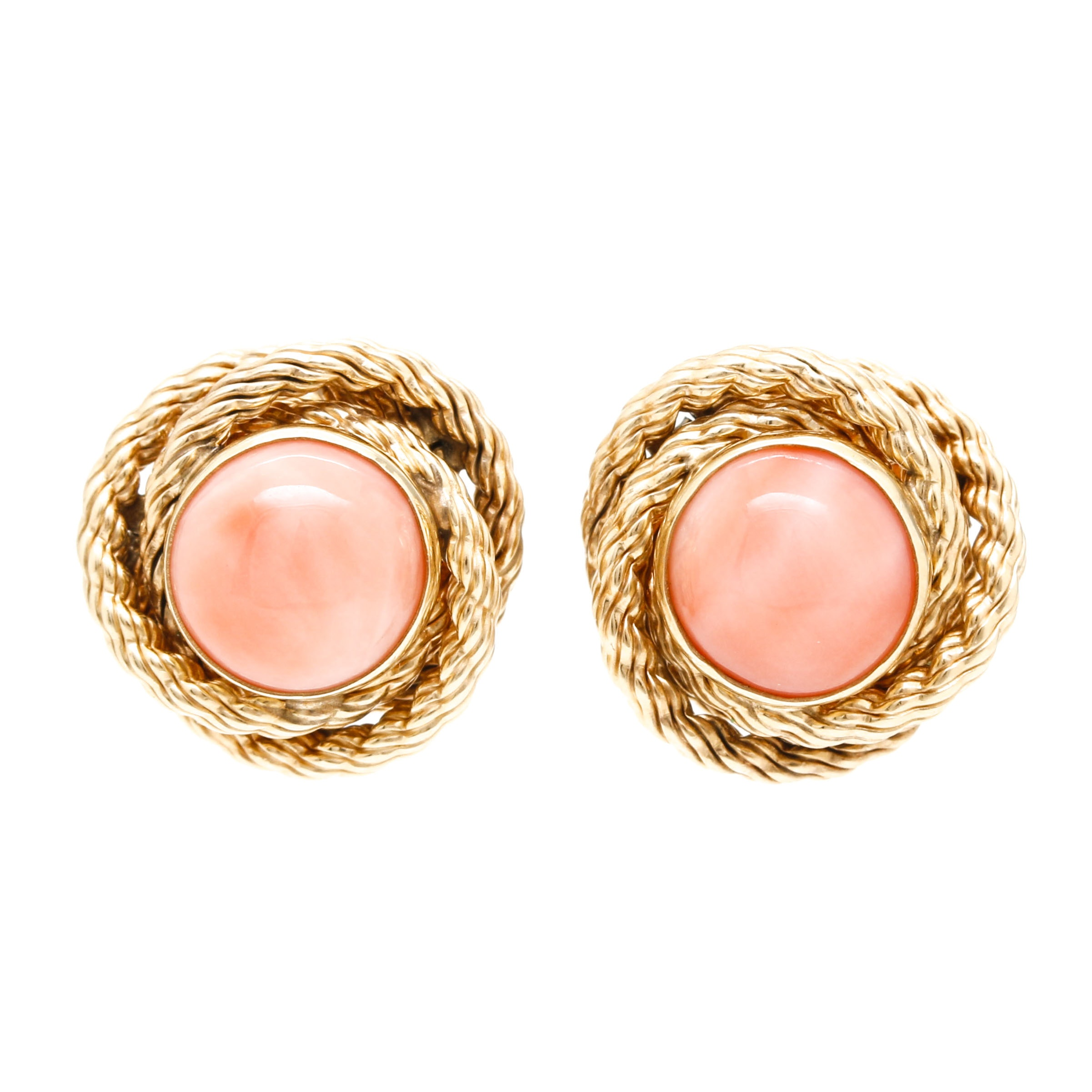 14K Yellow Gold Coral Rope Stud Earrings