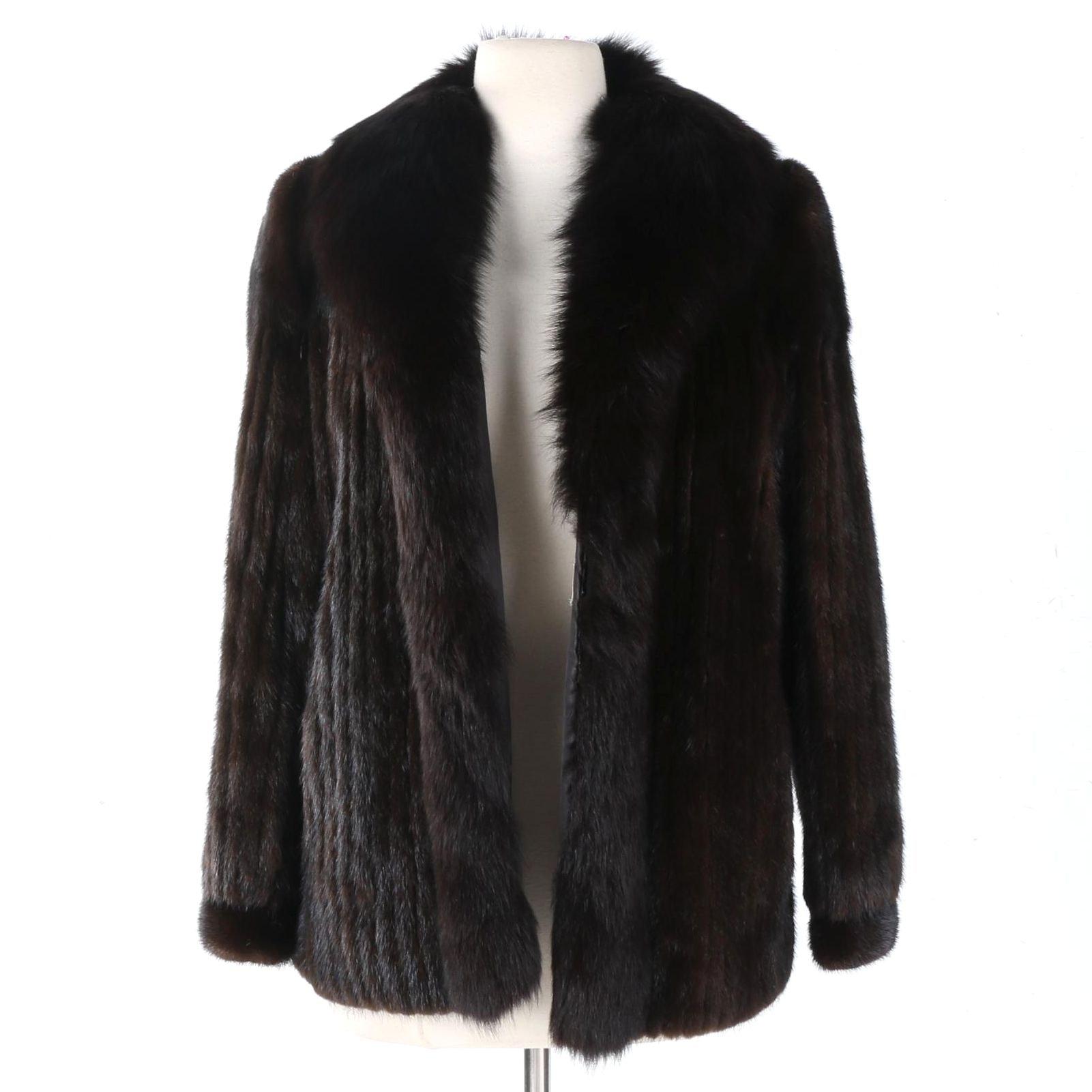 Saga Mink Fur Coat with Fox Fur Trim