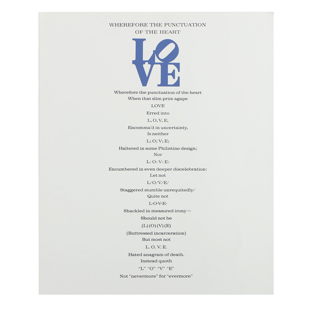 """Attributed to Robert Indiana Serigraph on Paper """"The Book of Love"""""""