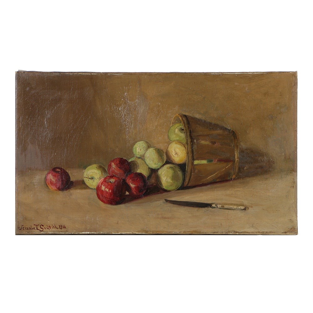 Jennie T. Griffith Oil Painting on Canvas Fruit Still Life