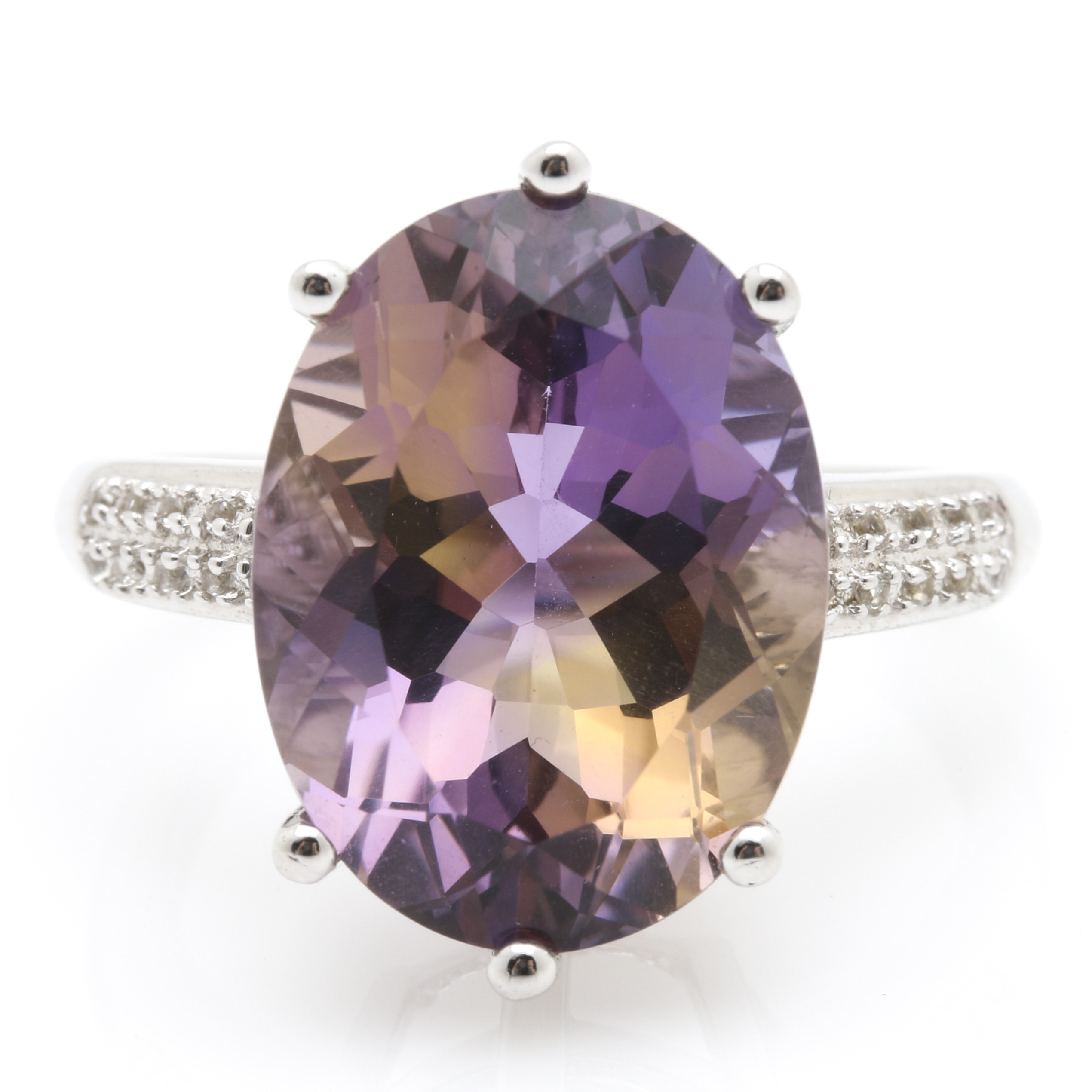 Sterling Silver 8.83 CTS Ametrine and White Topaz Ring