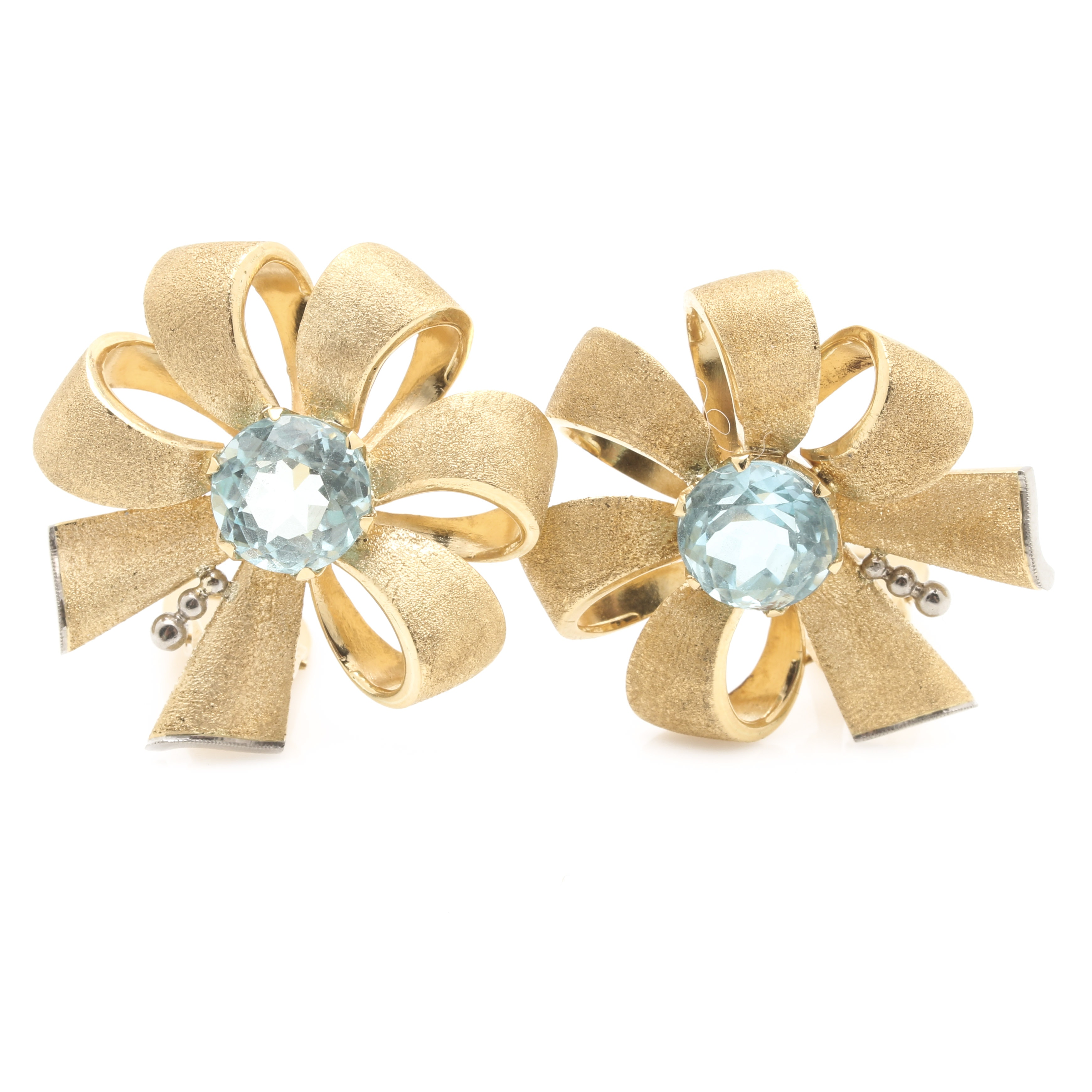 18K Yellow Gold 6.02 CTW Aquamarine Clip-On Earrings