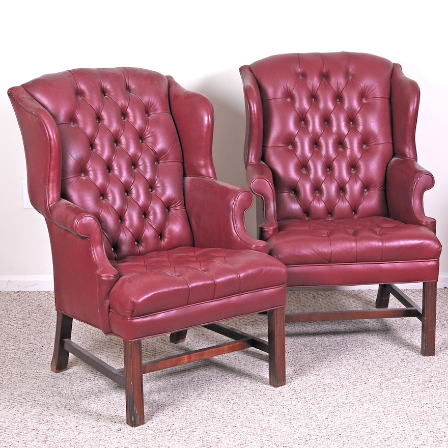 Pair of Leather Wingback Chairs by Emerson Leather : EBTH
