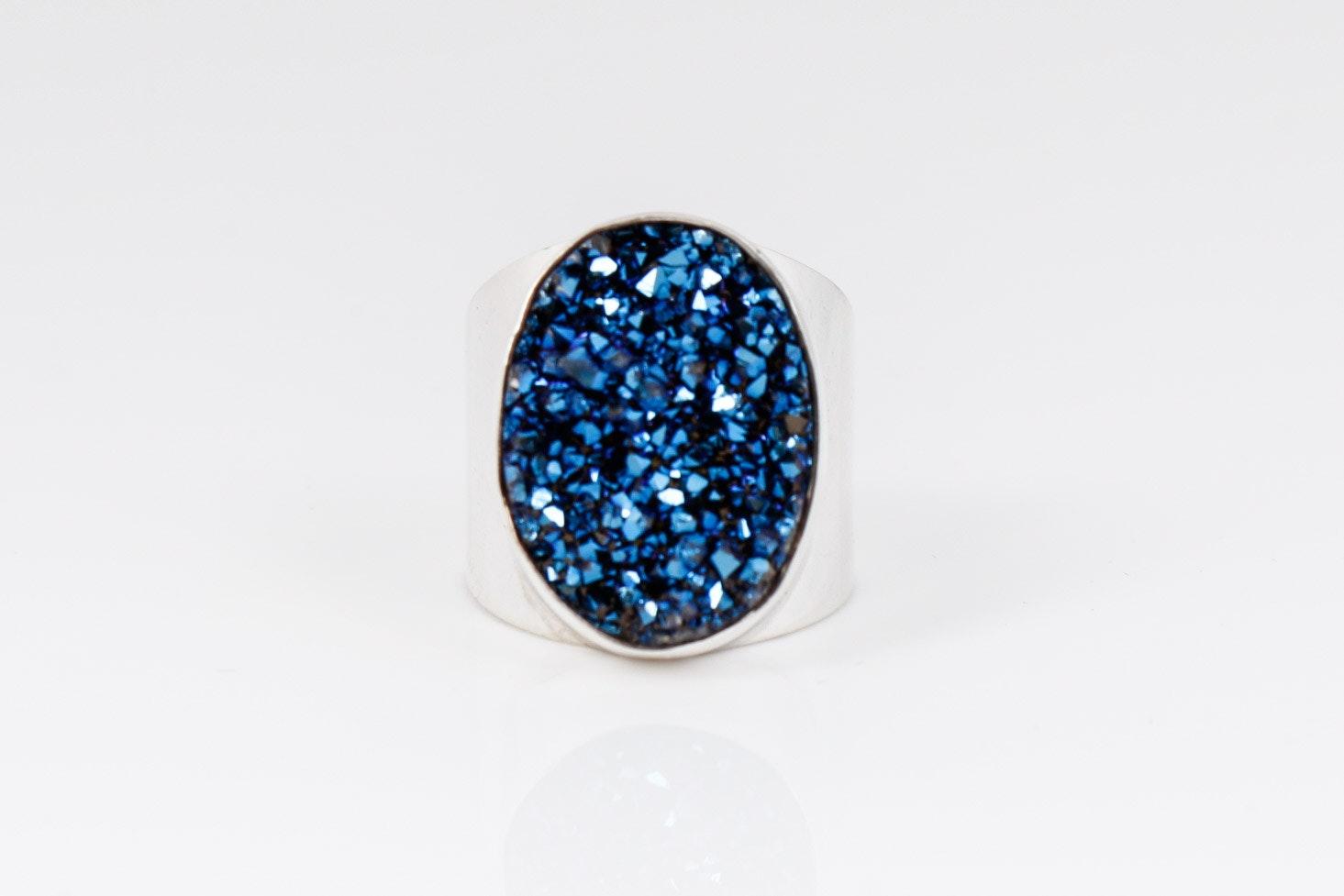 Sterling Silver Blue Druzy Ring