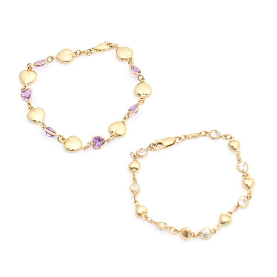14K Yellow Gold Bracelet Pair Featuring Amethyst and Cubic Zirconia