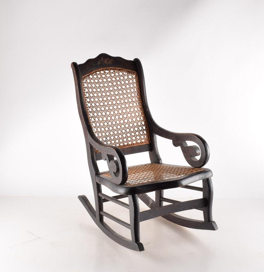 Vintage cane rocking chair - Vintage Wood Cane Woven Child S Rocker