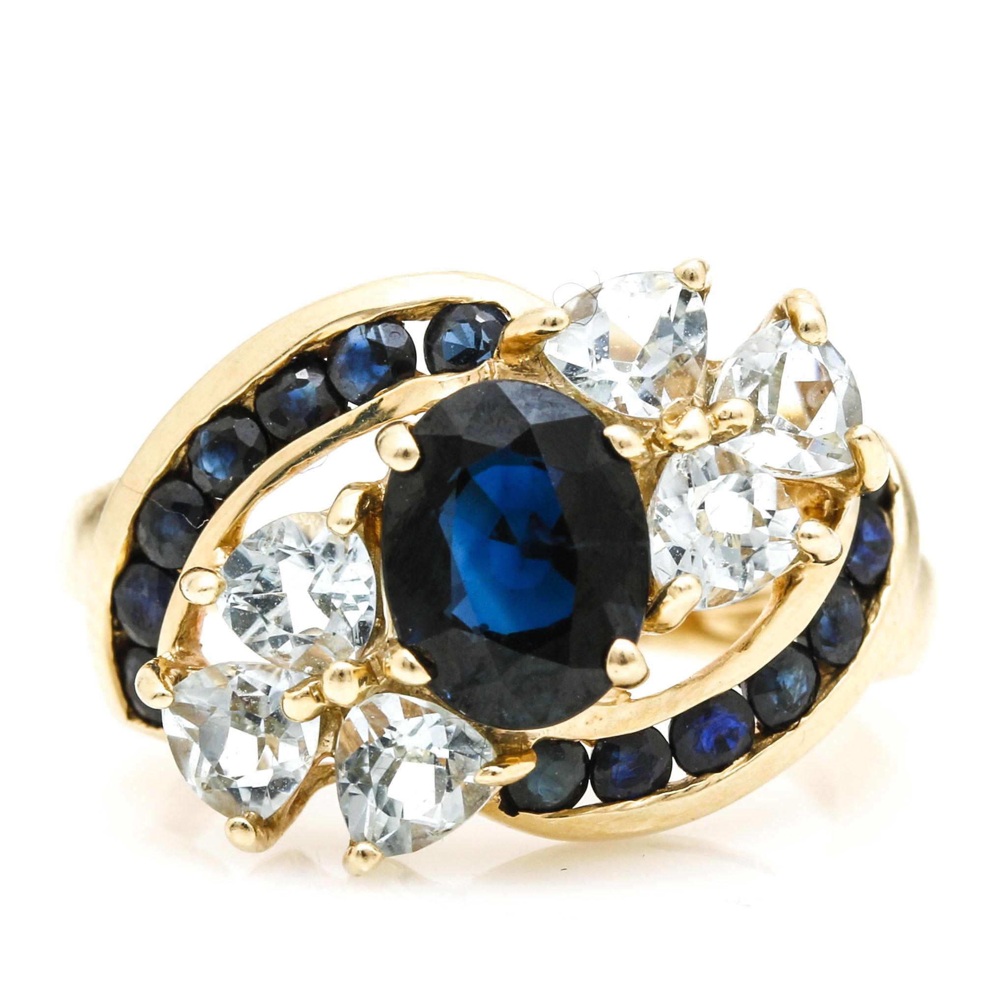14K Yellow Gold Sapphire and Aquamarine Ring
