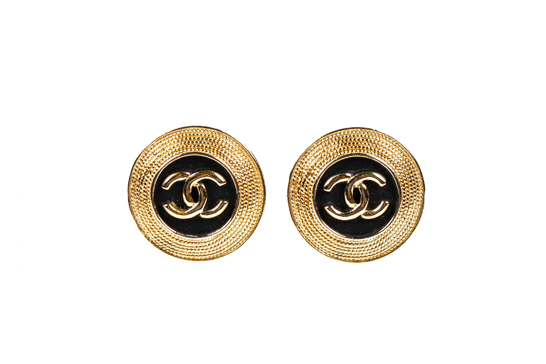 Chanel 1980's Vintage Gold Toned and Black Enamel Earrings