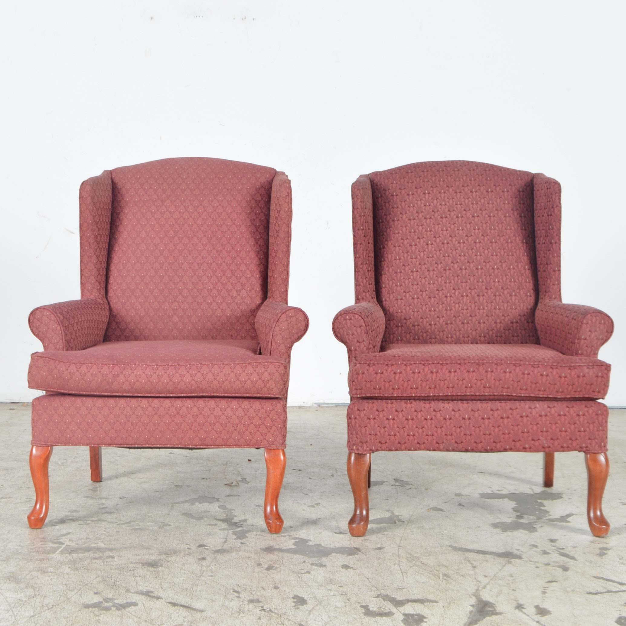 Burgundy Upholstered Wingback Chairs By Best Chairs, Inc. ...