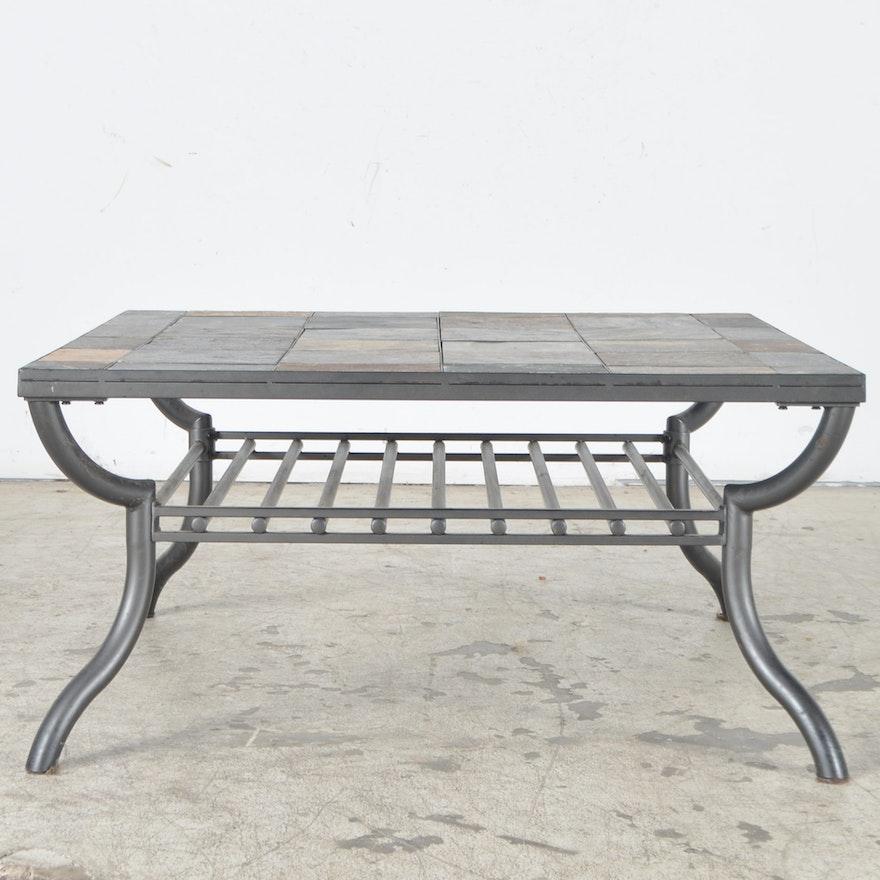 Ashley Furniture Slate Tile Patio Coffee Table Ebth