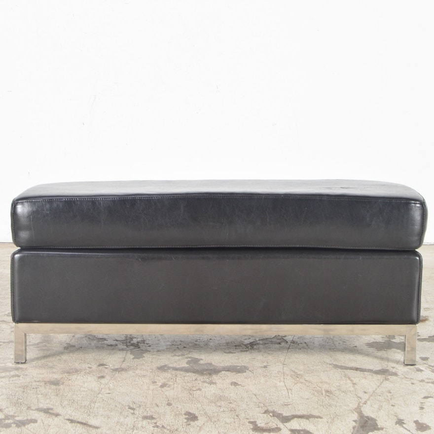 Contemporary Black Leather And Chrome Bench