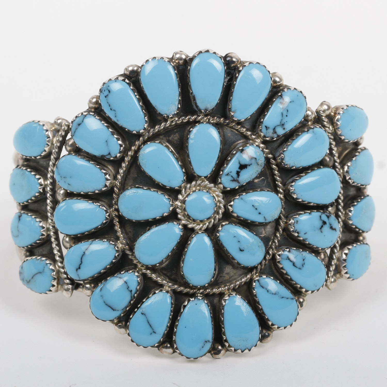 Tom Billy Navajo Sterling Silver and Turquoise Petit Point Cuff