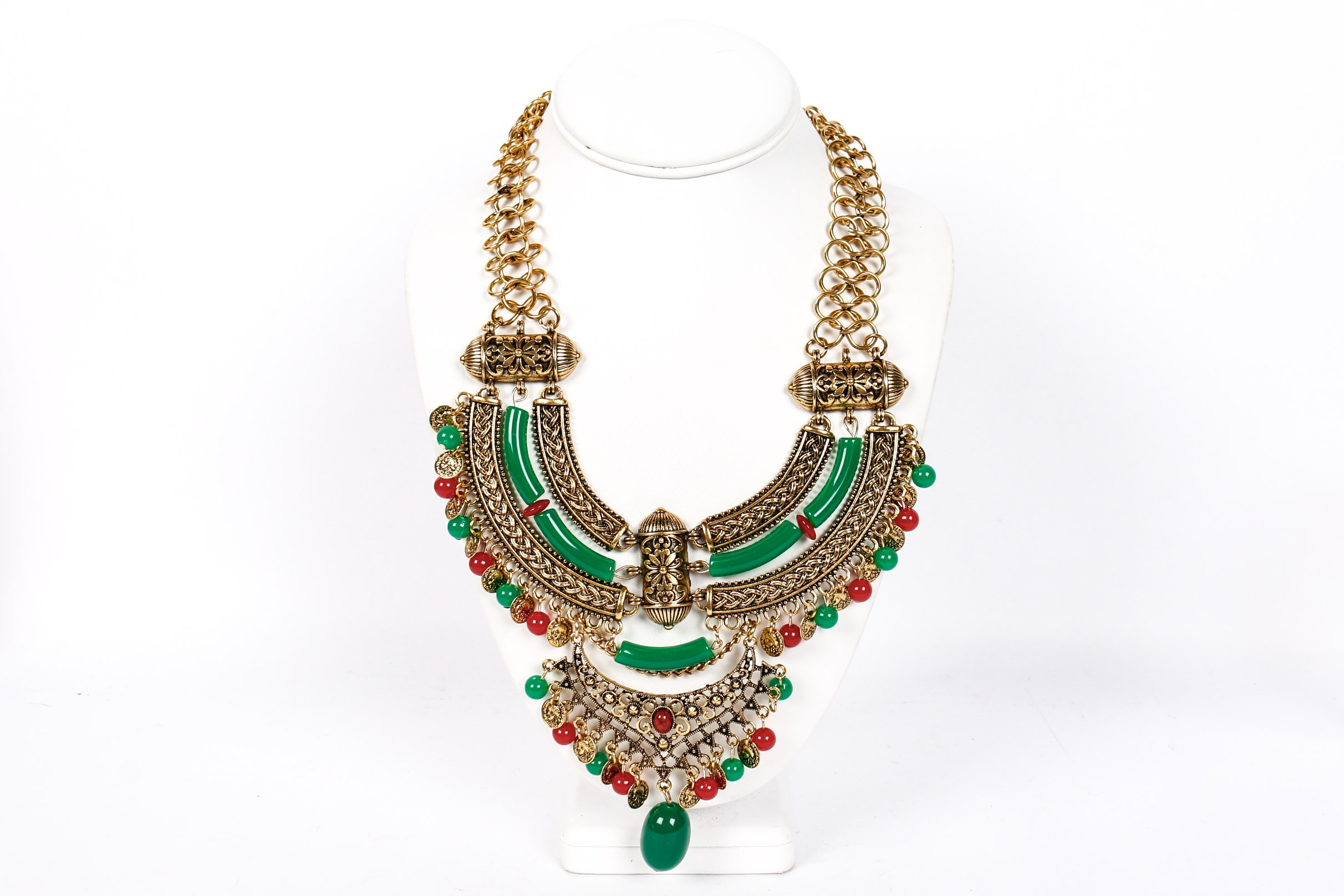 Green and Red Beaded Egyptian Revival Choker