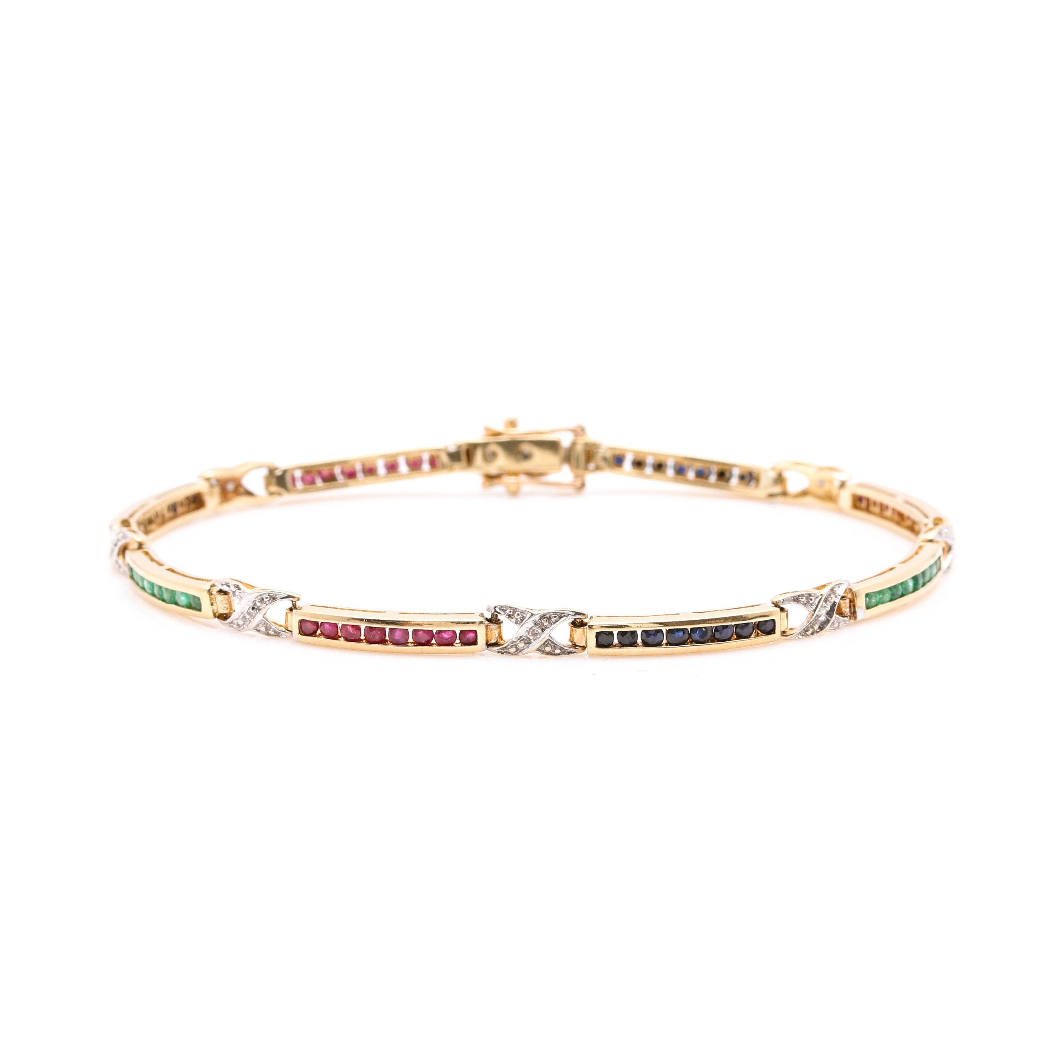 10K Yellow Gold Diamond, Ruby, and Sapphire Bracelet