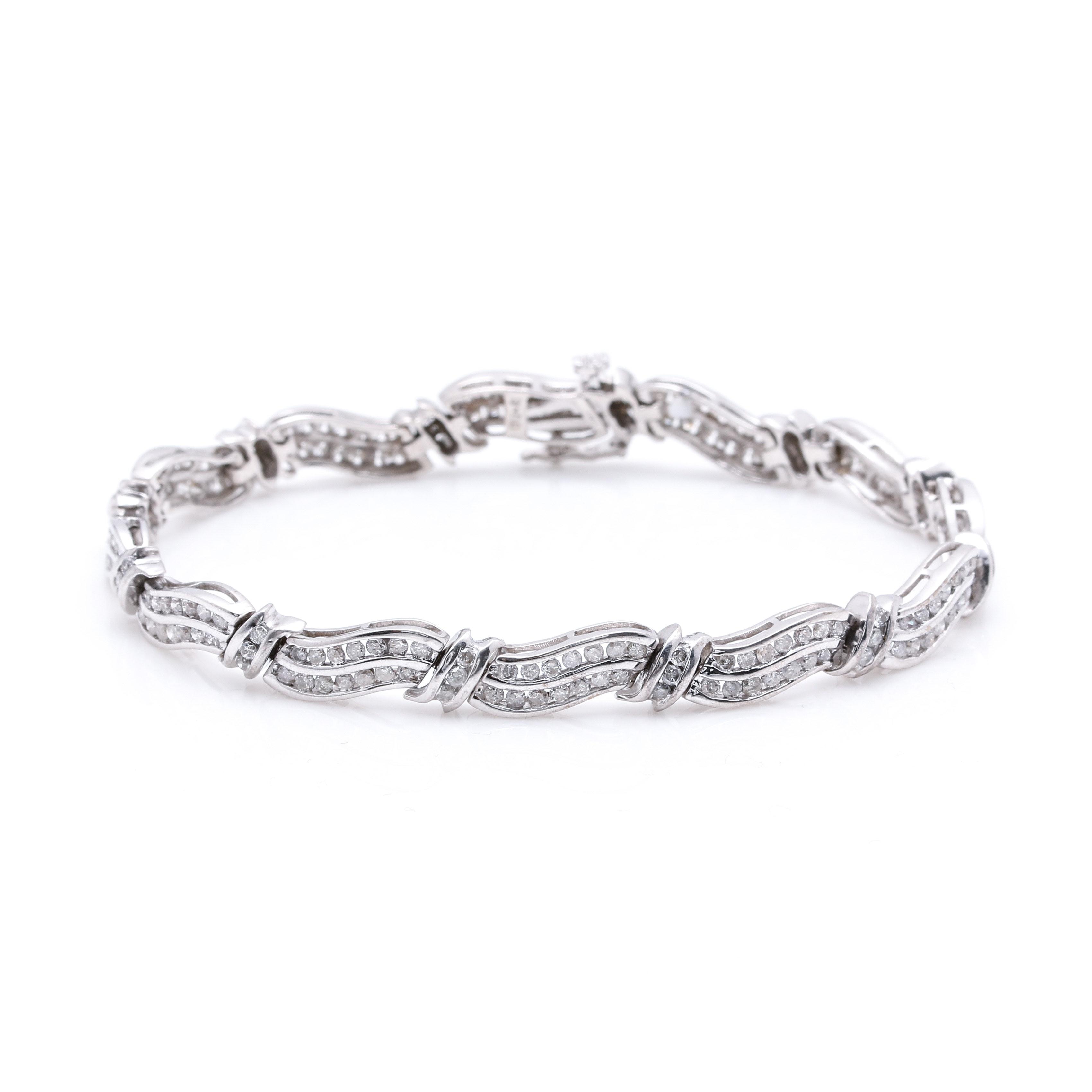 10K White Gold 3.05 CTW Diamond Bracelet