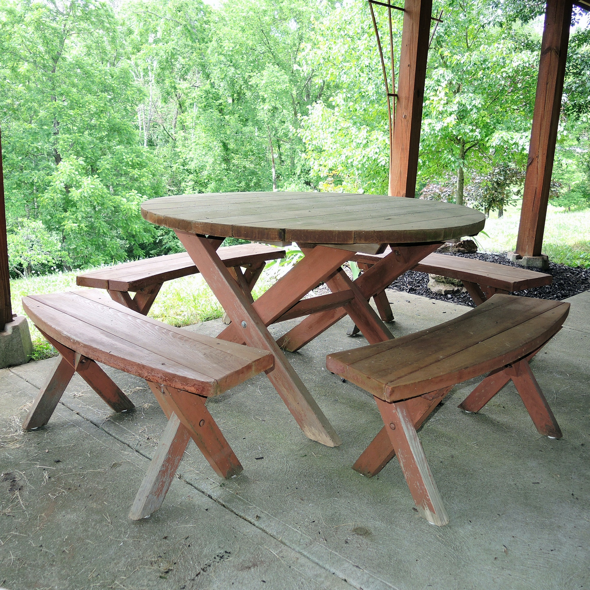 Redwood Patio Table and Bench Seats