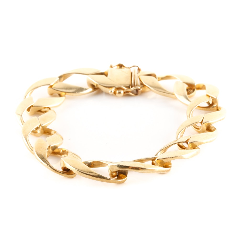 14K Yellow Gold Fancy Oval Link Bracelet