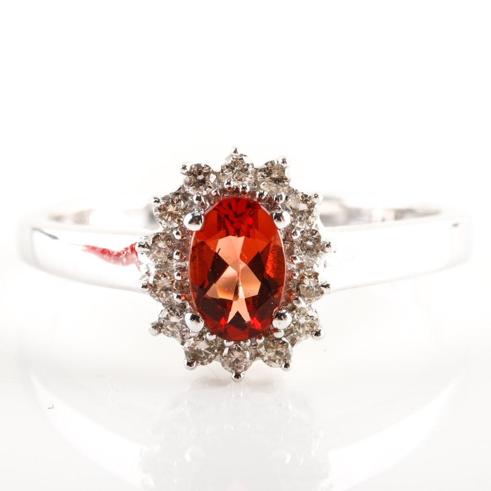 14K White Gold Andesine Labradorite Feldspar and Diamond Halo Ring